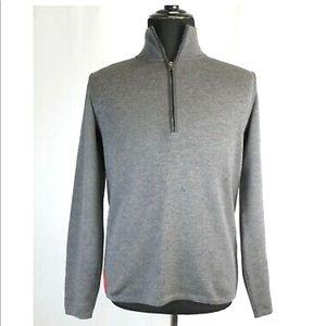 Prada Italian Wool Zip Pullover Sweater Large Grey
